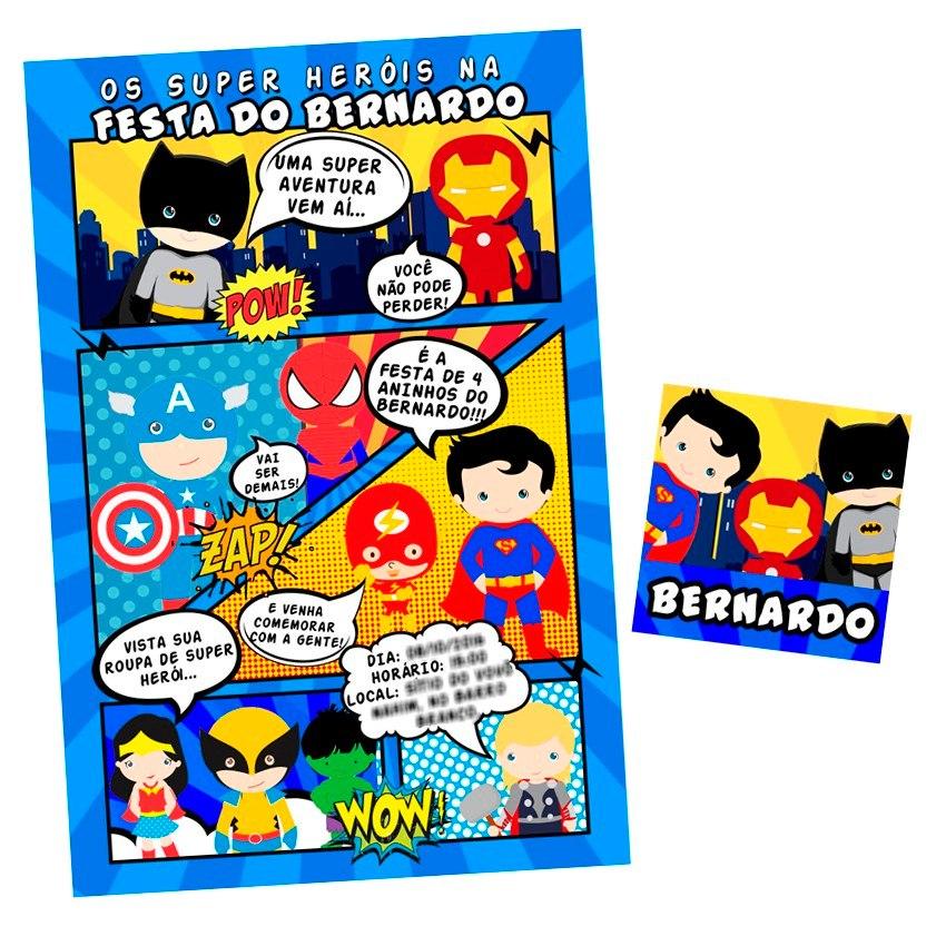 Convite Heróis Cute Baby Gibi 50 Unidades R 4990 Em Mercado Livre