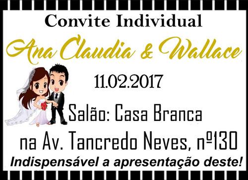 convite individual para casamento - 150 unidades