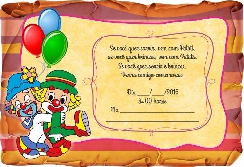 Convite Infantil Aniversário Pergaminho Patati Patata R 144 Em