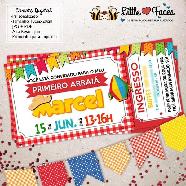 Convite Ingresso Festa Junina R 3920 Em Mercado Livre