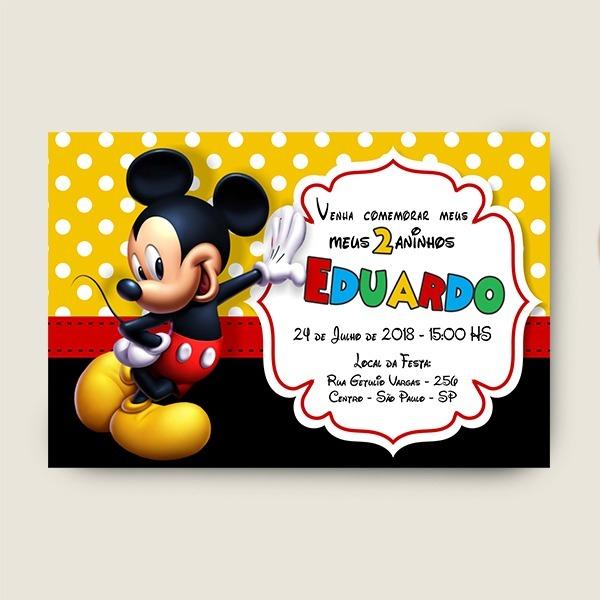 Convite Mickey Png Para Imprimir E Enviar No Whatsapp R 20 00