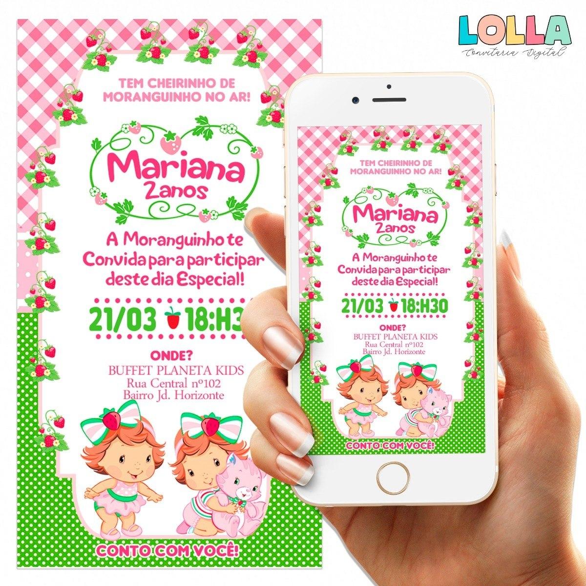 Convite Moranguinho Baby Digital R 15 00 Em Mercado Livre