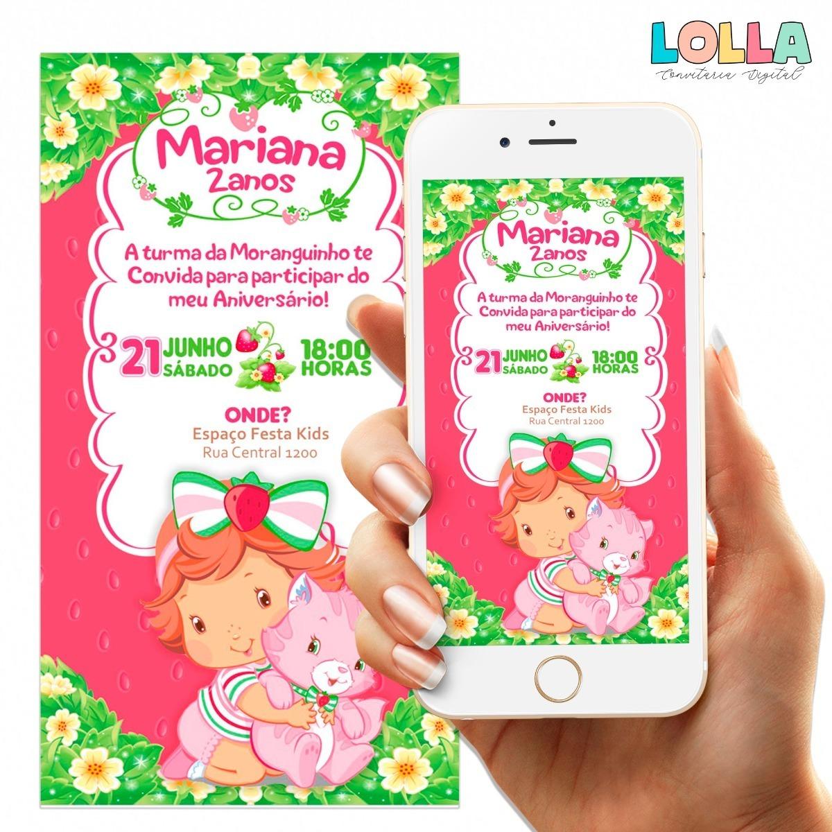Convite Moranguinho Baby Digital Brinde R 18 00 Em Mercado Livre