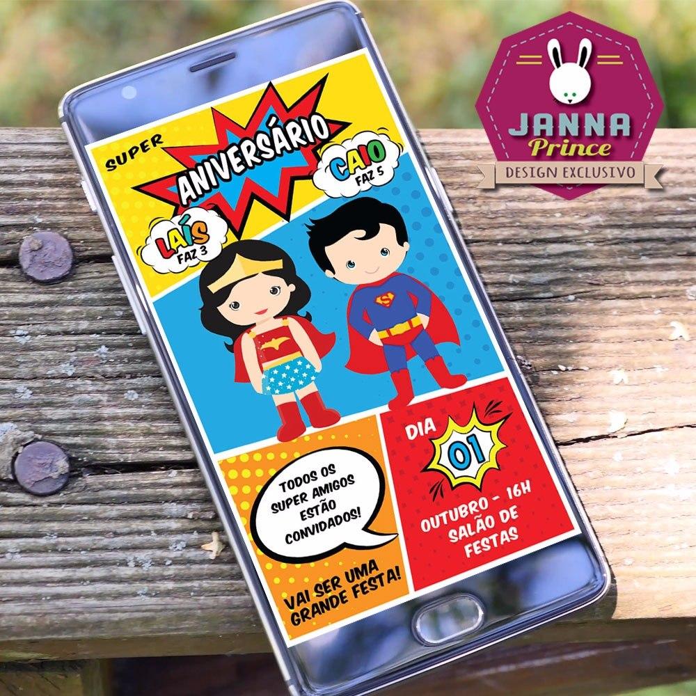 Convite Mulher Maravilha E Super Homem Digital Whatsapp R 2390