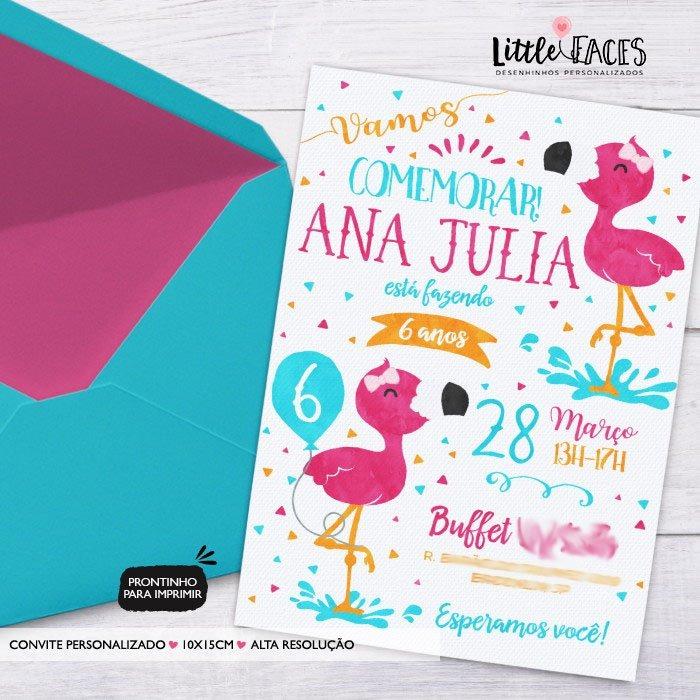 Convite Para Imprimir Aniversário Flamingo Tropical Abacaxi R 39