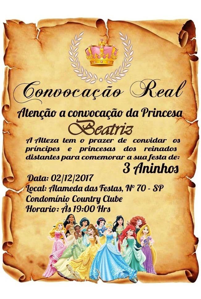Convite Pergaminho Princesas Disney Arte Digital Em 24 Hrs R