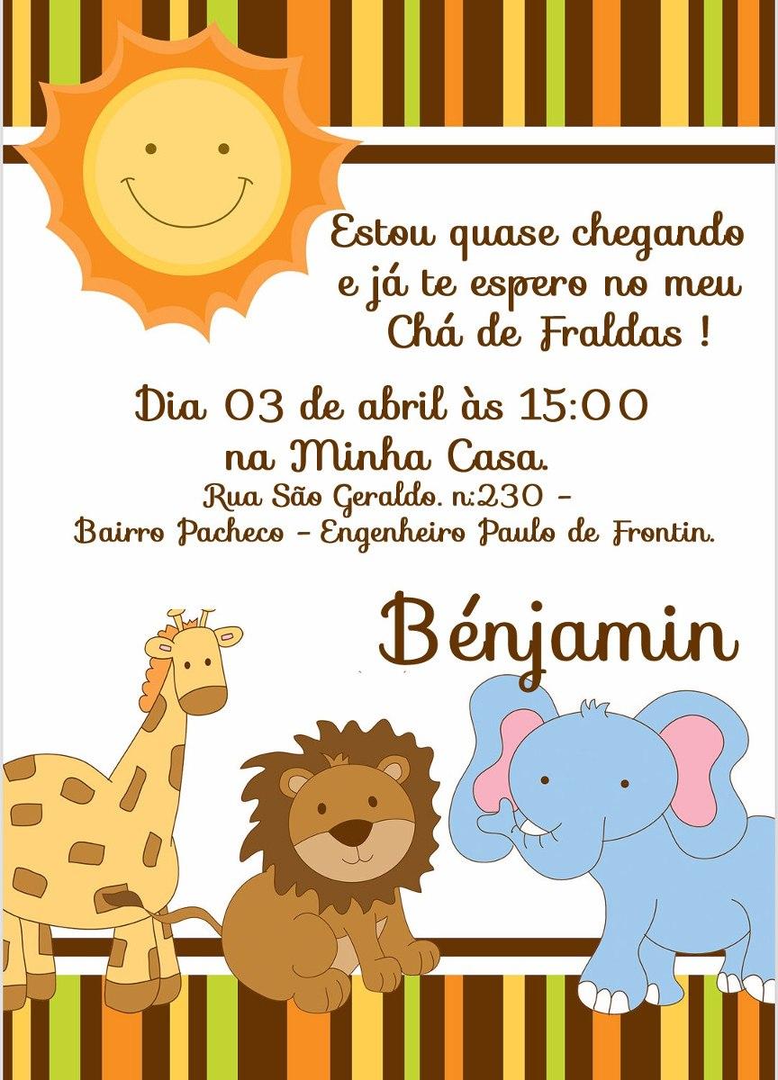 Convite Safari Baby Chá De Bebê Ou Aniversário 10x7 30un R 13