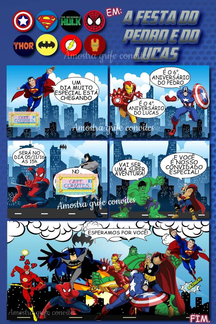 Convite Super Heróis R 390 Em Mercado Livre