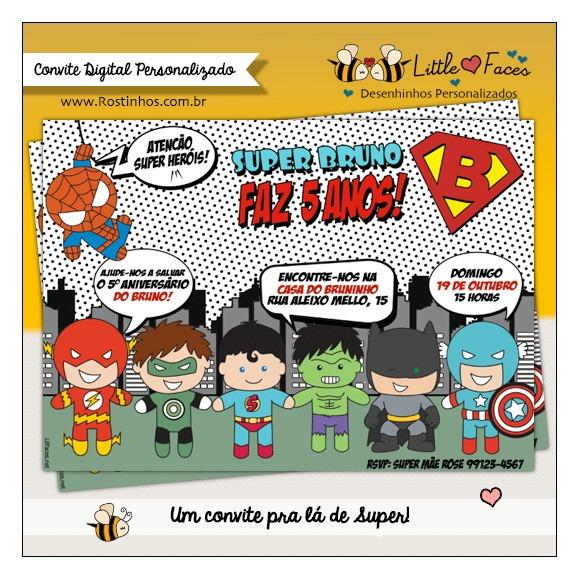Convite Super Heróis Digital R 4200 Em Mercado Livre