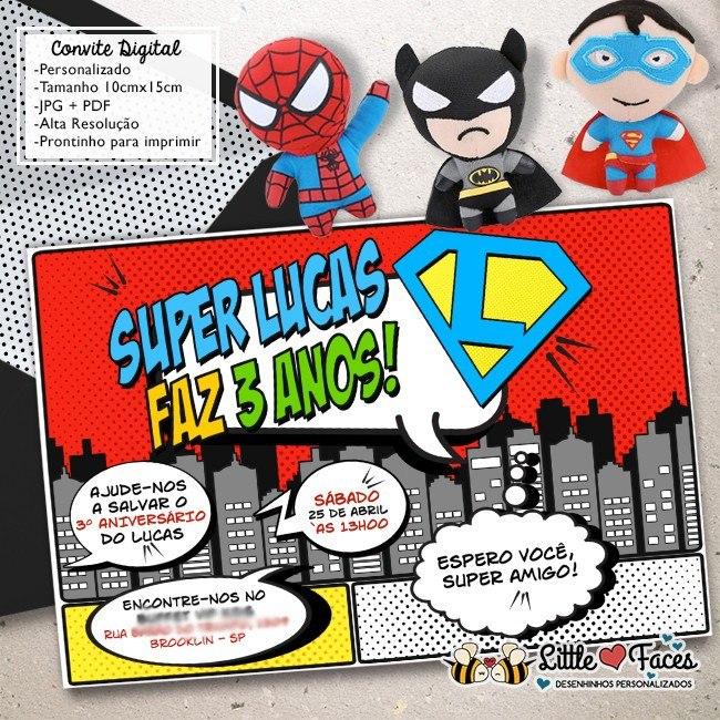 Convite Super Heróis Digital R 3920 Em Mercado Livre