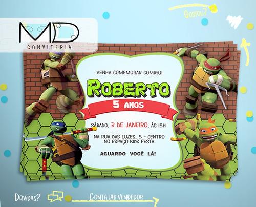 convite tartarugas ninjas  sem envelope kit 10 unid