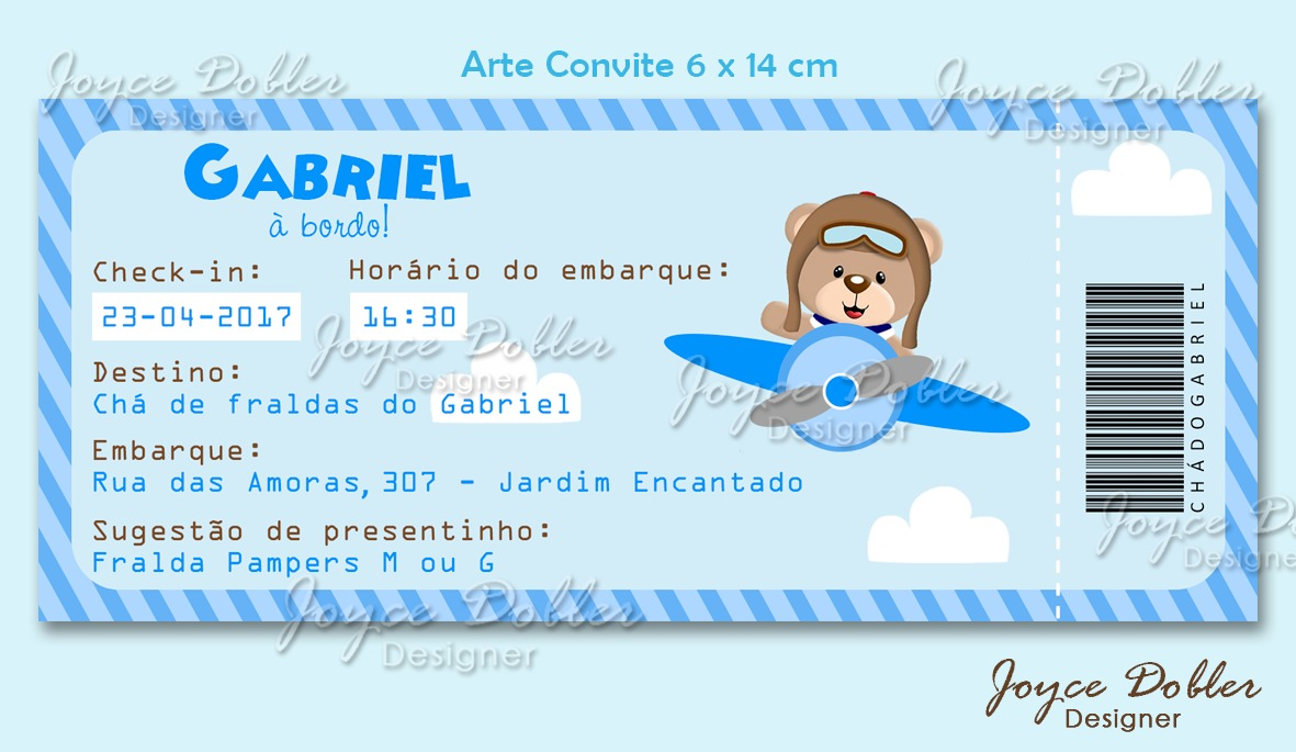 Convite Ursinho Aviador Chá De Bebê Fraldas Arte Digital R 25