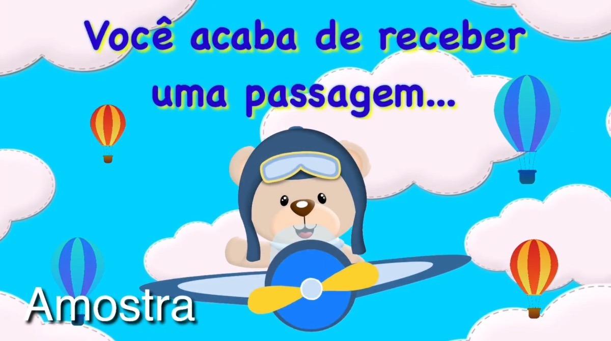 4a3e344ed Convite Virtual Animado Ursinho Aviador Vídeo Aniversário - R$ 20,00 ...
