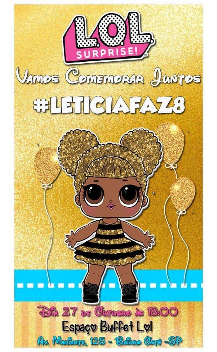 Convite Virtual Para Aniversário Lol Queen Bee Dourada