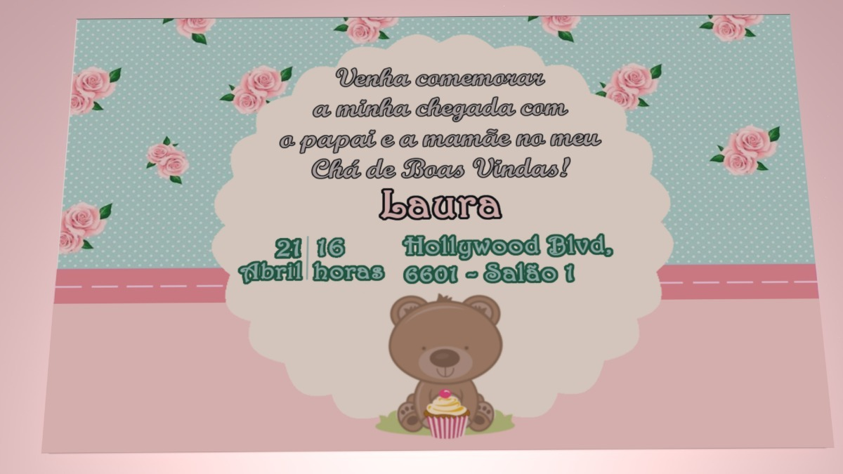 Convite Virtual Personalizado Chá De Bebê Chá De Fraldas R 1000