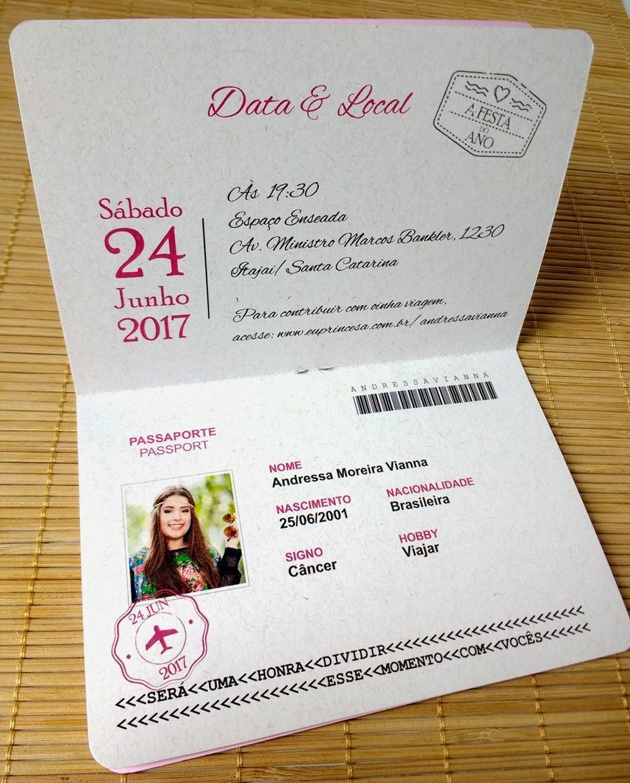 Convites Aniversário Debutante 15 Anos Passaporte 40 Unid R 120
