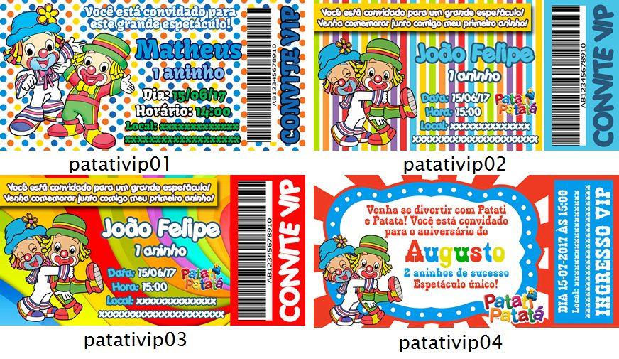 50 Convites Aniversário Infantil Vip Patati Patata Ingresso R 32