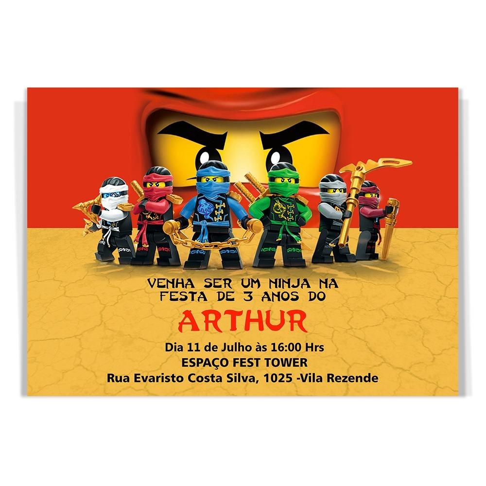 50 Convites Aniversário Infantil Lego Ninjago Brinde R 3499 Em