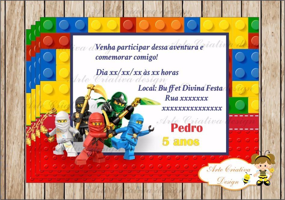 50 Convites Aniversário Infantil Lego Ninjago Personalizado R 15
