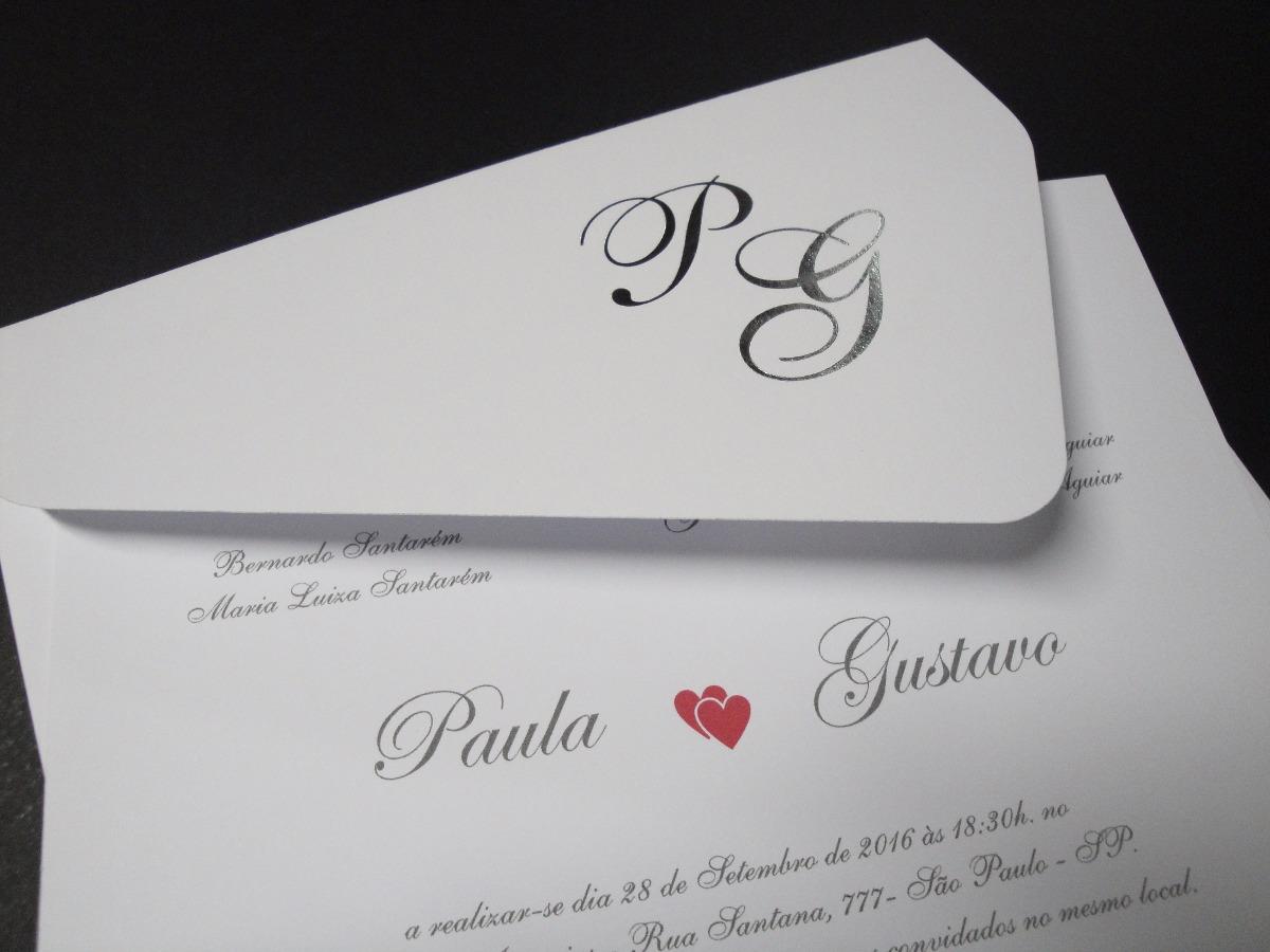 Convites Casamento Envelopes Iniciais Hot Stamping 25 Unid R 63