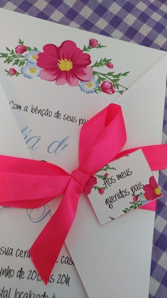Convites Casamento Simples Floral Barato Campo 15 Anos R 5990