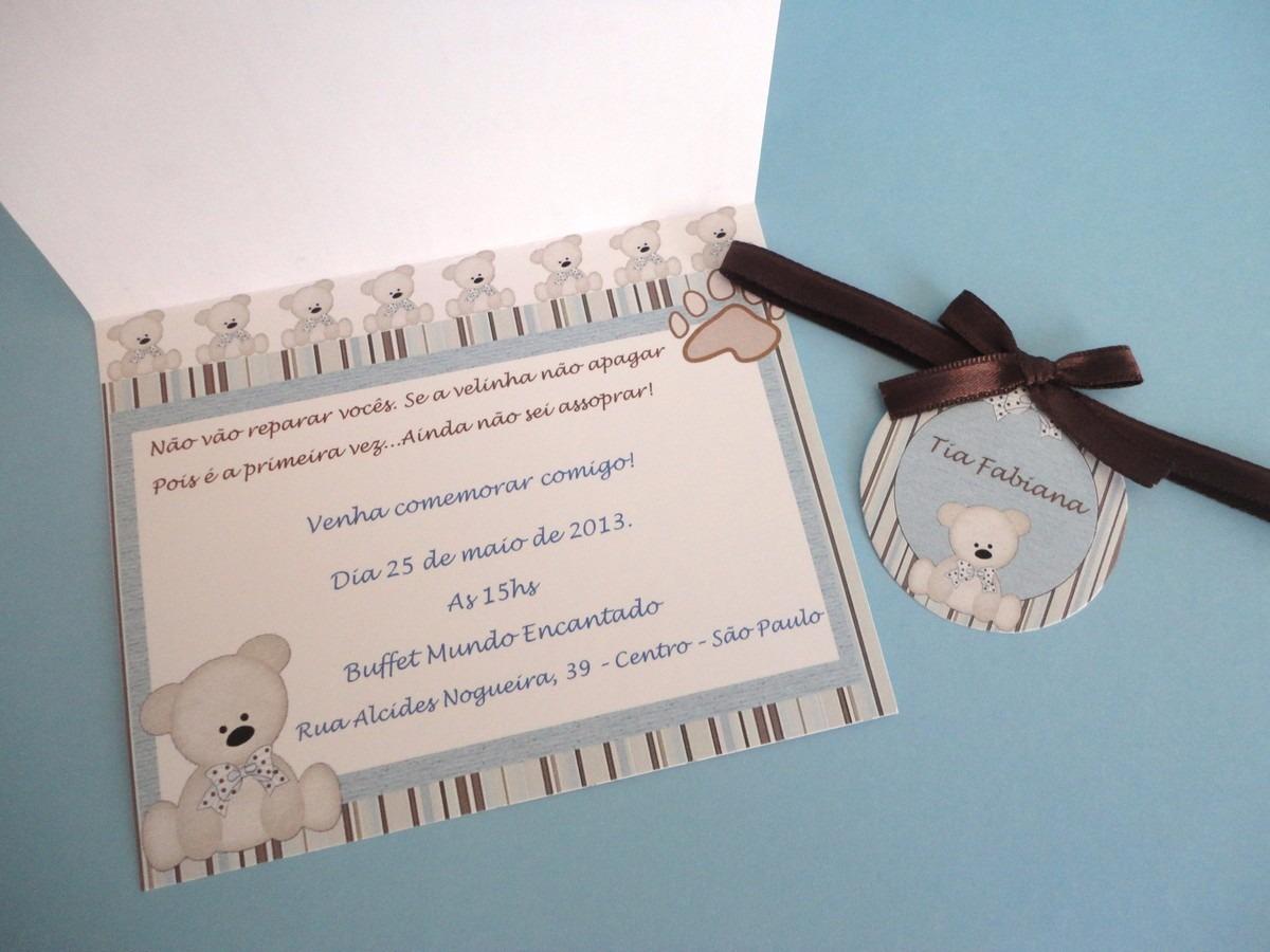 03 Convites Chá De Bebê Simples Safari Menino Ursinho Baby R 717