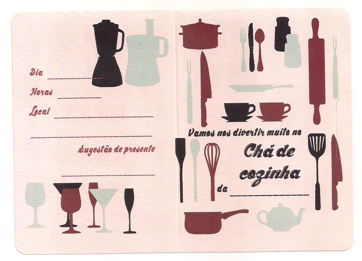 50 Convites De Ch De Cozinha Pronta Entrega Ref 102 R 10  ~ Lista Chá De Cozinha Pronta