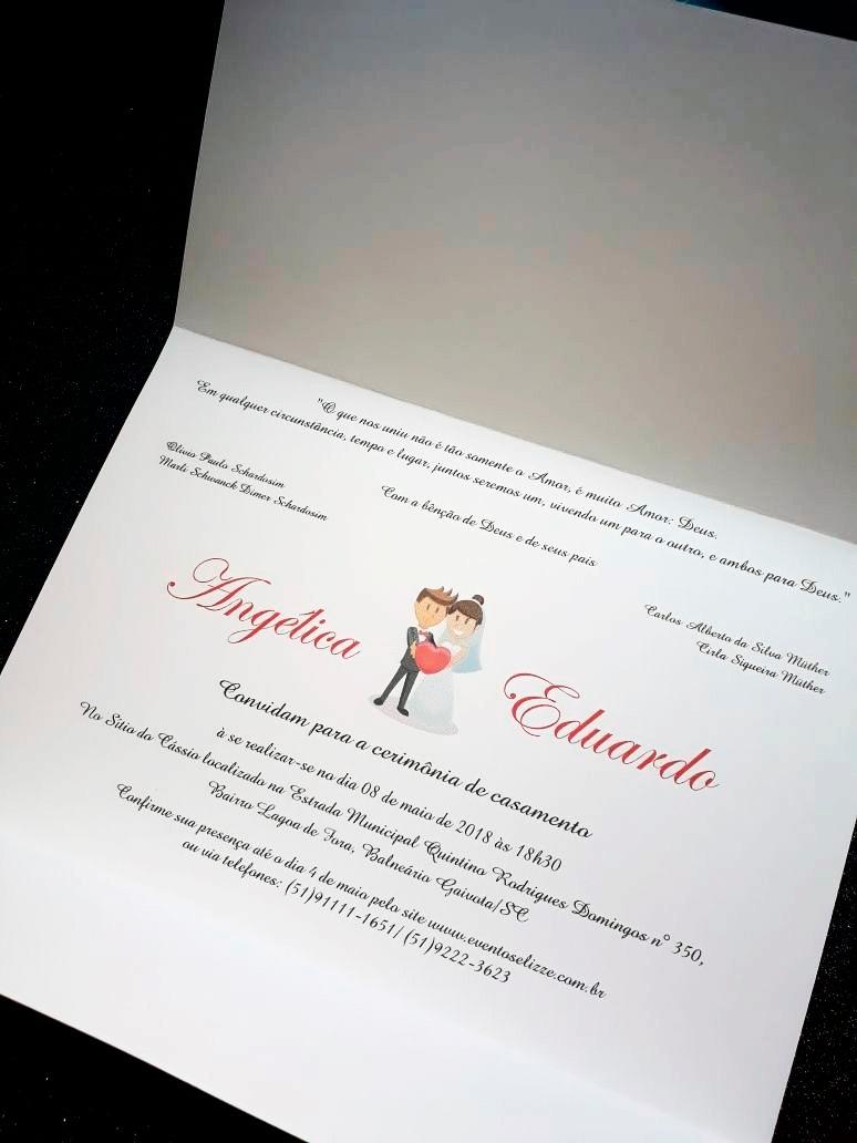 Convites De Casamento Simples E Barato 100 Unidades R 11980 Em