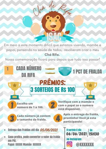 convites de chá rifa/ bebê/ fralda personalizado