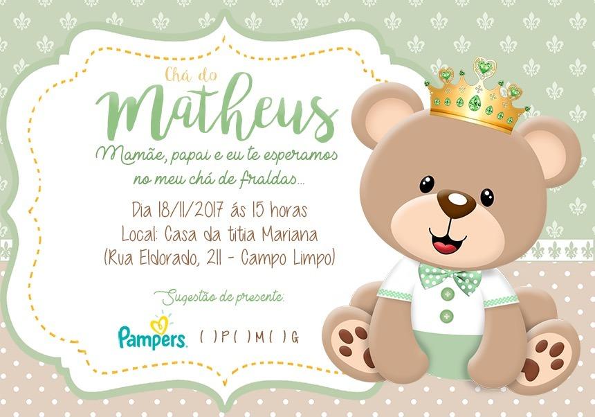 Convites Personalizados Chá De Bebê Ou Fraldas 100 Unidades R 29