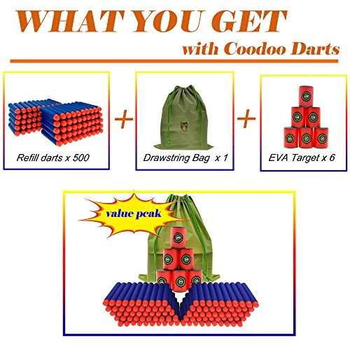 coodoo nerf compatible con dardos 500 piezas de pcs relleno