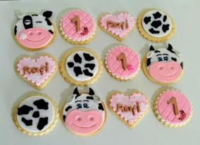 Cookies Galletas Decoradas Vintage Vaca Fondant Animales