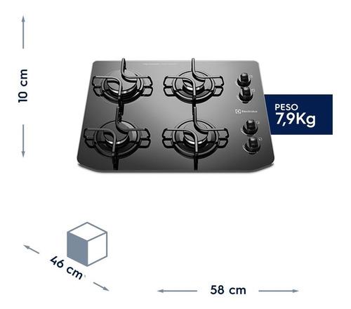 cooktop electrolux mesa vidro temperado 4 bocas gc58v  bivo