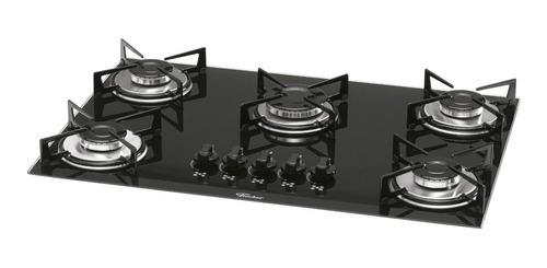 cooktop fischer 5 bocas trad gás mesa vidro preto
