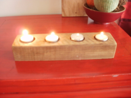 cool! portavelas de pino tea para 4 velas