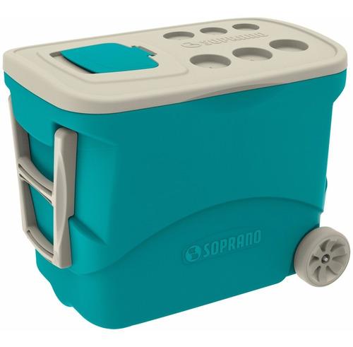 cooler caixa térmica 50l com rodas vermelho / azul soprano