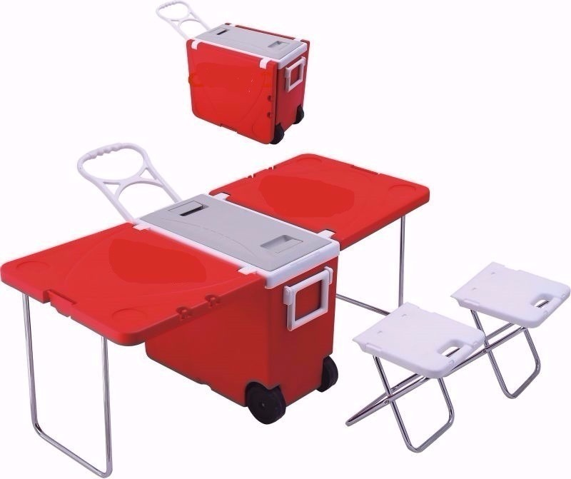 Cooler Caixa T Rmica Dobr Vel E Mesa Com Rodas Al A 2