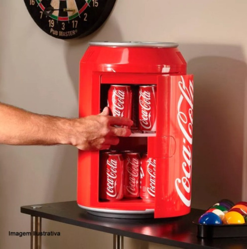 cooler coca-cola 12v para carro barco lancha 8 lata refriger