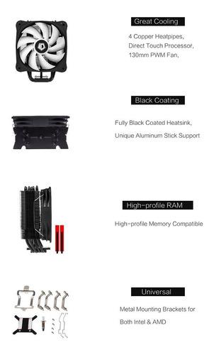 cooler cpu id-cooling se-214-rgb 120mm pwm intel amd ryzen
