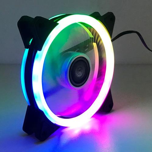 cooler fan 120mm c/18 led rgb dupla face p/ gabinete pc cpu