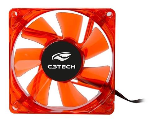 cooler fan para gabinete 8x8 f7 led vermelho - c3 tech