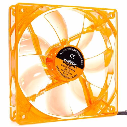 cooler fan pc gamer 120mm led laranja ventoinha dx-12l