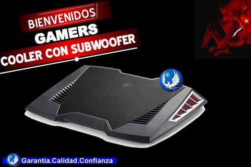 cooler gamer con subwoofer para laptop hasta 17