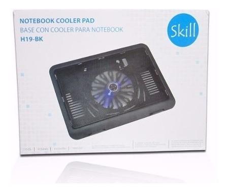 cooler h19 skill p/notebook 14  1 ventilador negro caja new!