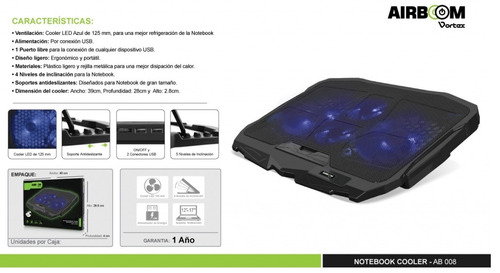 cooler para laptop airboom vortex