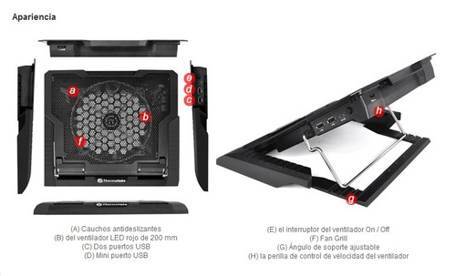 cooler para netbook thermaltake massive 23gt led