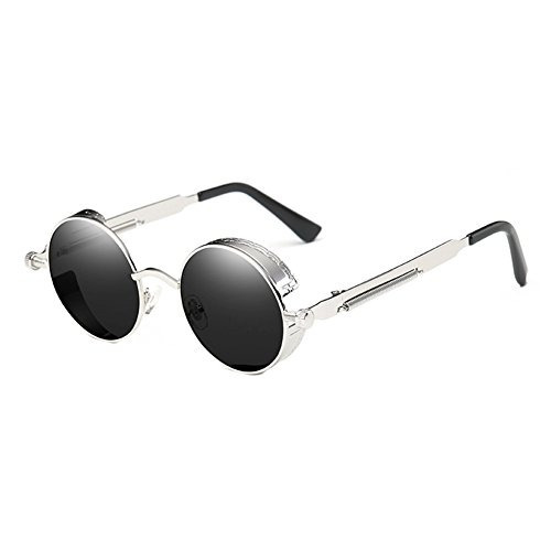 coolsunny retro gotico steampunk gafas de sol metal redondo