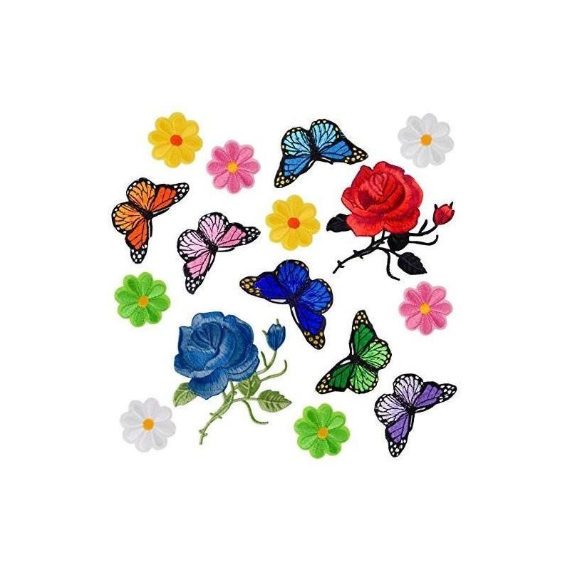 Coopay 16 Piezas Flores Mariposa Hierro En Parches Bordado A ...