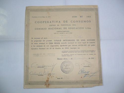 cooperativa consumos consejo nacional educacion 1950