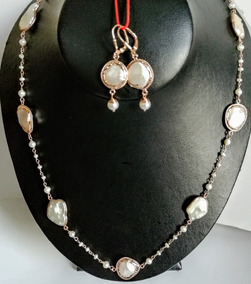 57bb831c45bd Coordinado Collar Arete Perla Plata 925 Oro Rosado Artesanal